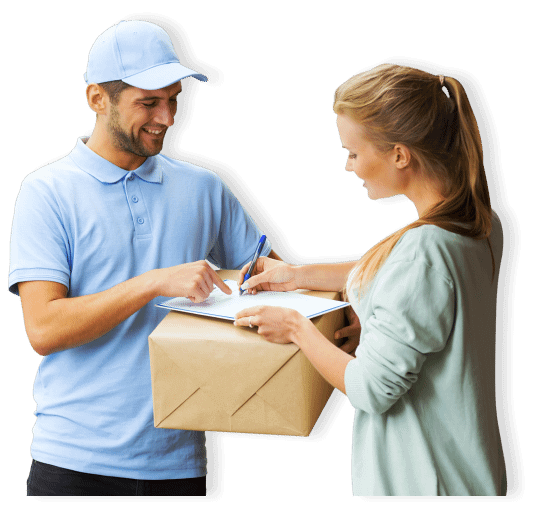 woman signing her signature for delivey box delivered by male courier