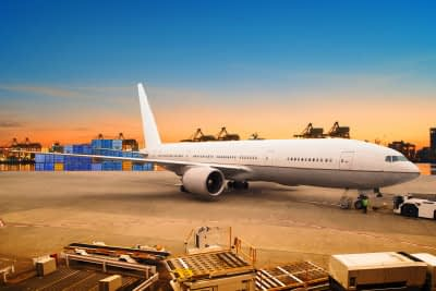 air freight and cargo plane loading trading goods in airport